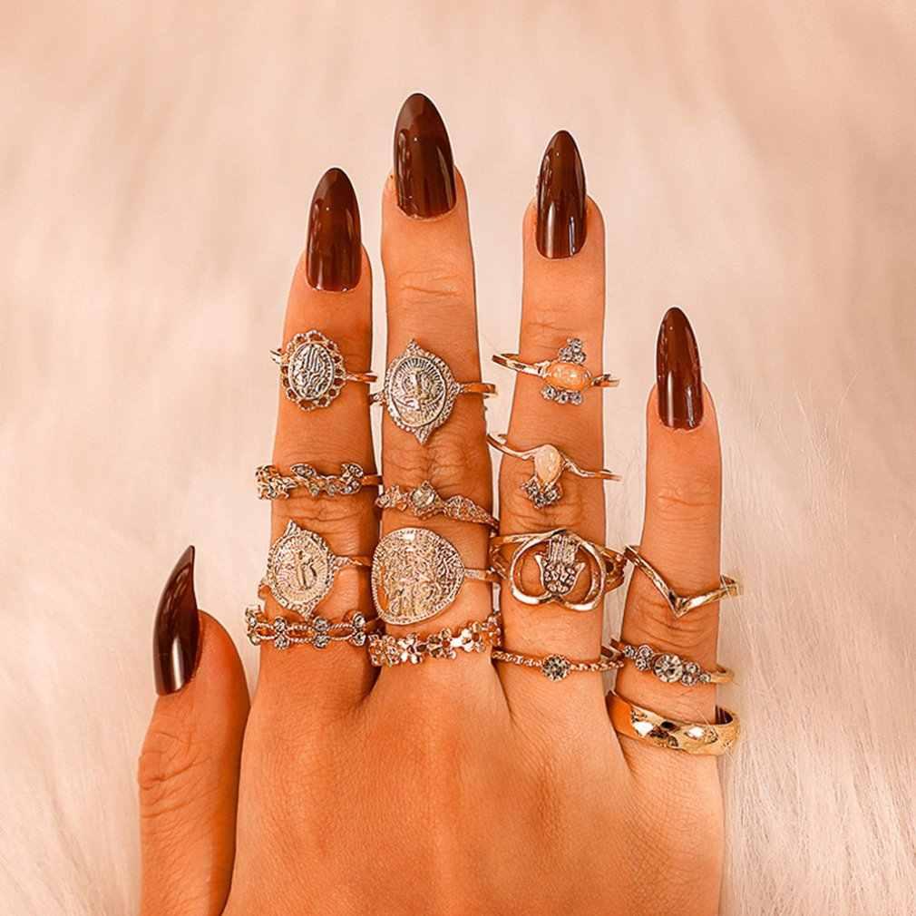 15 ชิ้น/เซ็ตเหรียญ Cross ชุดรูปแบบแหวนสำหรับผู้หญิง Hollow Love Vintage Charm นิ้วมือแหวนหญิงเครื่องประดับใหม่ Drop การจัดส่ง