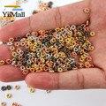 Yiimall 1000 шт 4 мм, покрыто золотом, серебром, акриловый цветок Spacer Бусины для самостоятельного изготовления ювелирных изделий ювелирные издели...