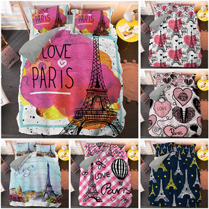 I Love Paris 3D Bedding Set Tower Printed Duvet Covers Comforter Luxury Bed Linen Single Twin Full Queen King Size Quilt Cover