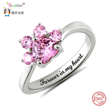 StrollGirl 925 sterling silver custom paw print birthstone ring personalized engraving DIY ring mother's day gift free shipping 925 sterling silver ring for women custom mother ring personalized birthstone ring anniversary gift fine jewelry lam hub fong