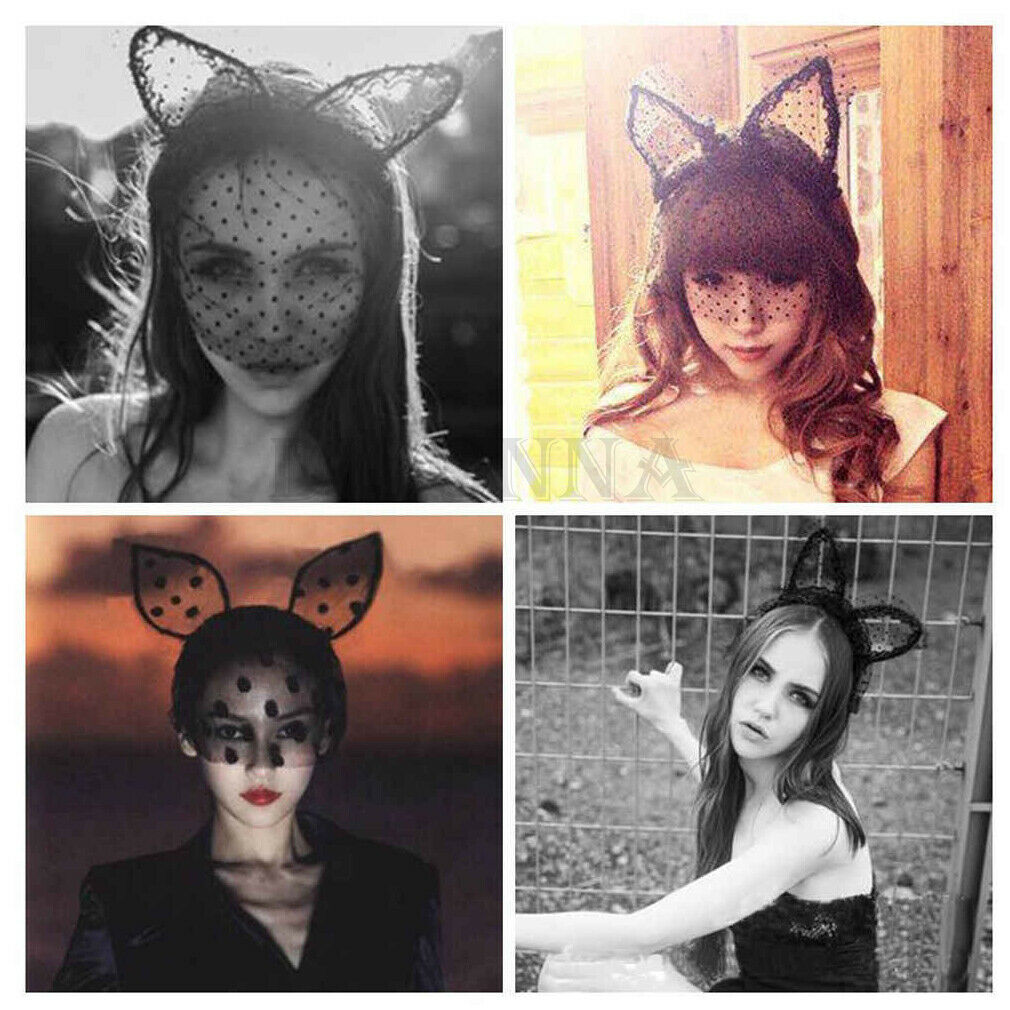 Brand New Women Girl Sexy Headband Party Lace Veil Mask Lace Bunny Cat Ear Hair Hoop Hairband Party Cosplay
