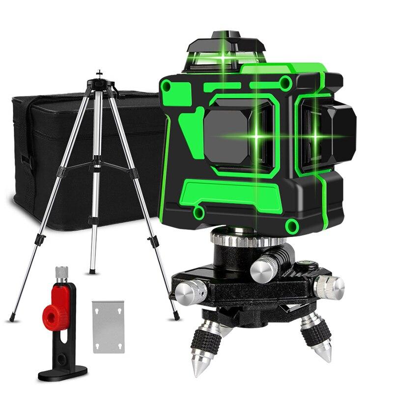 Зеленый лазерный уровень 12 линий 3d Горизонтальная и вертикальная поперечная линия 360 Авто самонивелирующийся зеленый лазер с кронштейном литиевая батарея Лазерные уровни      АлиЭкспресс