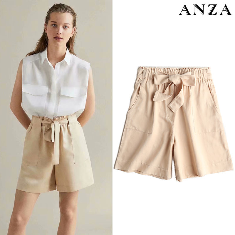ZA Women Summer Shorts With Elastic Waist Tie Solid Elegant Basic Shorts Femme Office Wear Loose Cream Cotton Shorts