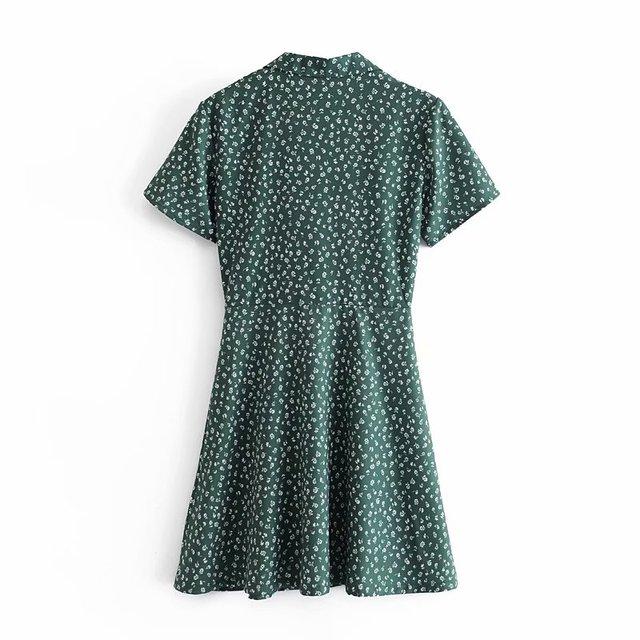 Palace Short Sleeve Women Dress Elegant Turn Down Collar Dresses Vintage Floral Print Mini Vestidos 4