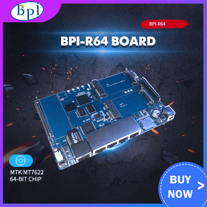 Banana PI BPI R64 Board MT 7622 Opensource Router With 12V 2A DC Power Newest Arrive BPI R64 Board Run On OpenWrt Linux