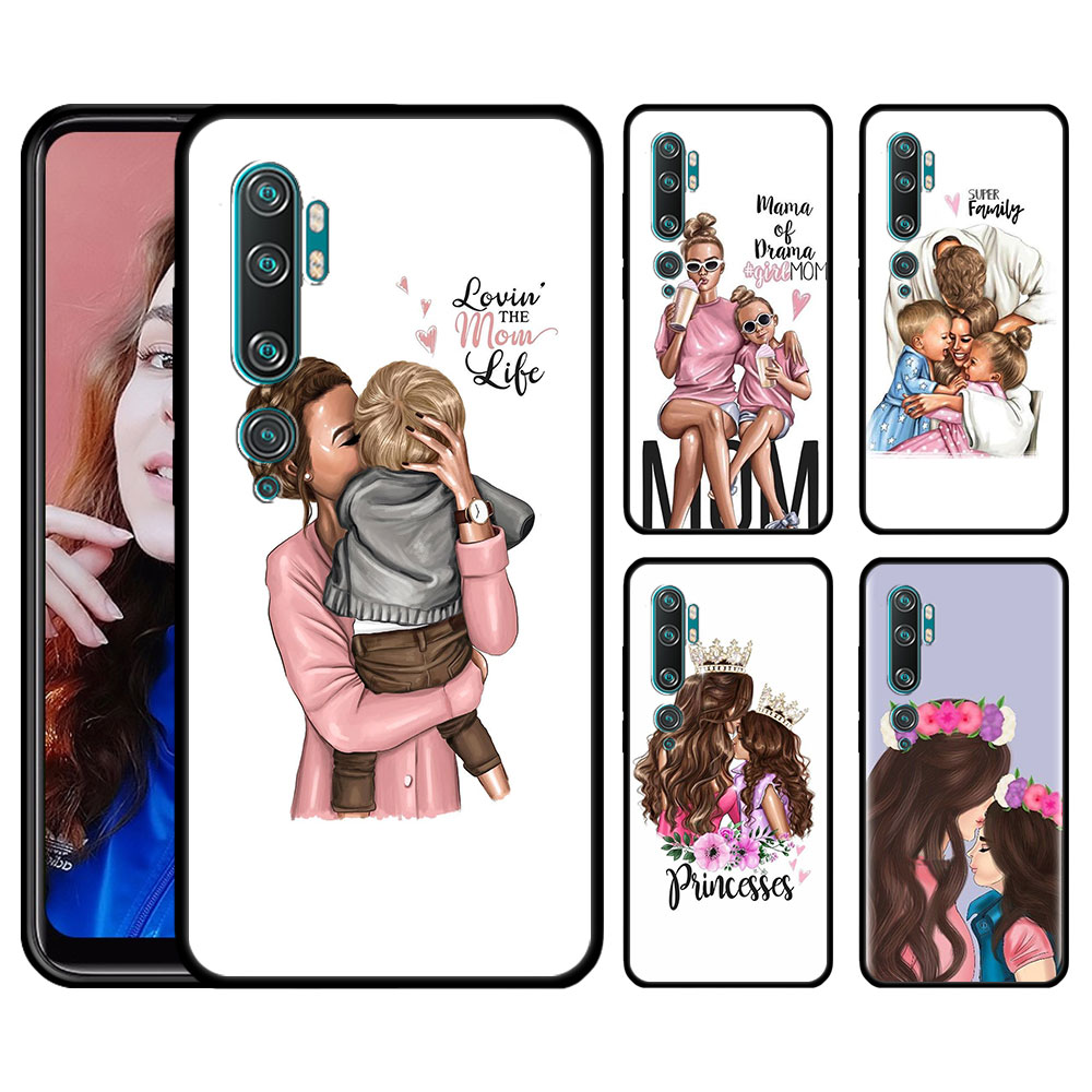 Silicone Case For Xiaomi Mi 10 9 Pro 5G 9 9SE 9T Note 10 Pro A1 9 A1 A2 8 Lite Poco F1 X2 Phone Cover Mom And Baby