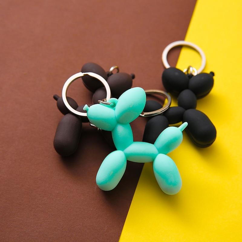 DIY Pendant Korean Style Stereo Keychain Cartoon Keyring 1Pcs Balloon Dog Nice Gift Soft Rubber PVC Car Interior 3Color 5.5*4CM