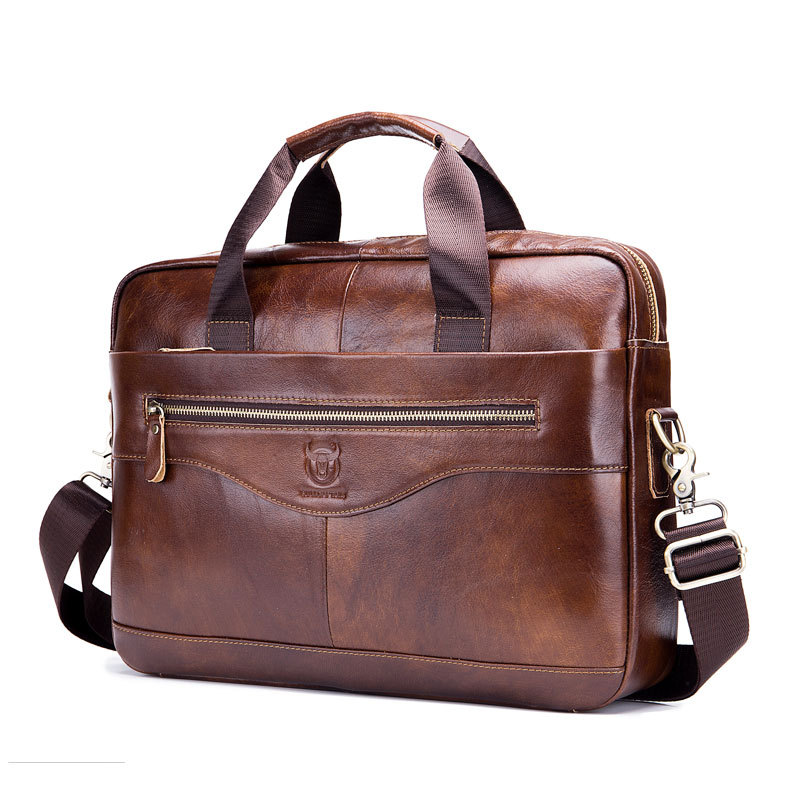 Men's Leather Briefcase Laptop Bag Shoulder Crossbody Briefcase MEN'S Bag Full-grain Leather Multi-functional Hand Bag Briefcase