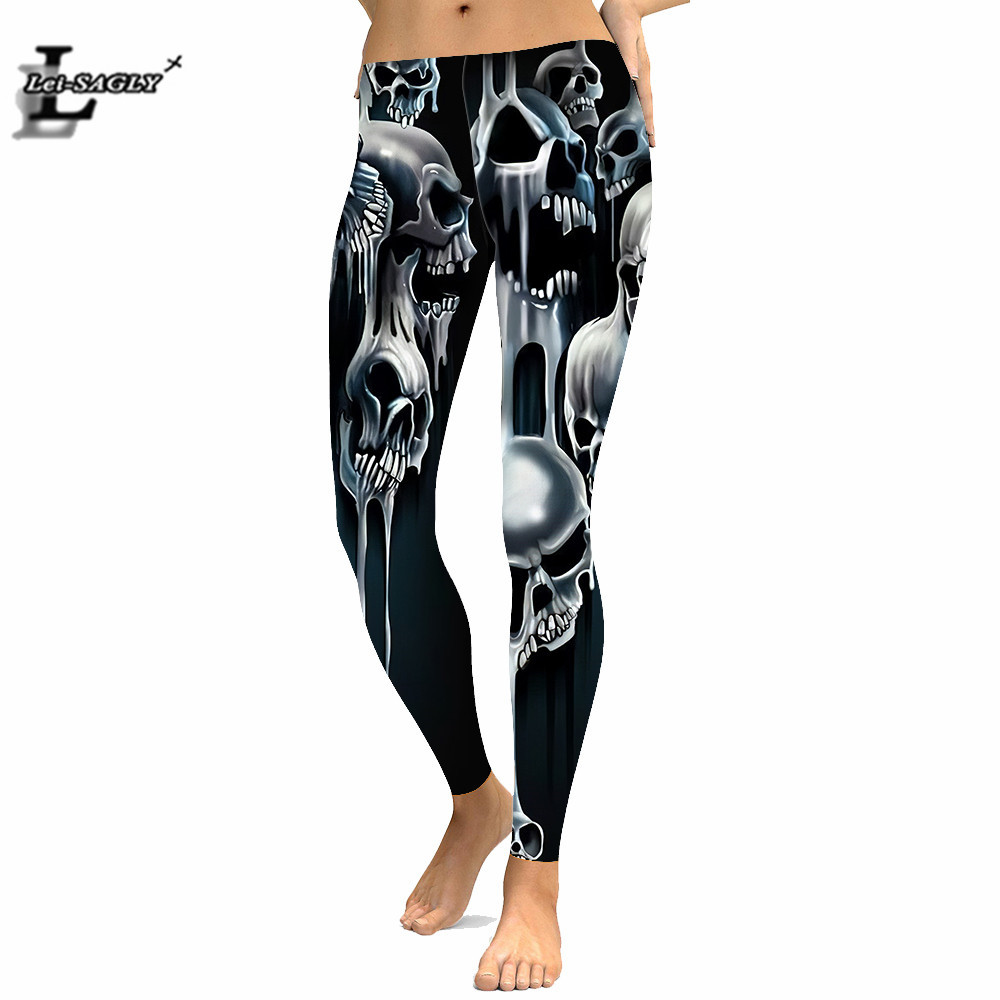 Skull Nightmare Before Christmas 3D Digital Printed Leggings Gothic Shein Sexy Plus Size Women Workout Leggings
