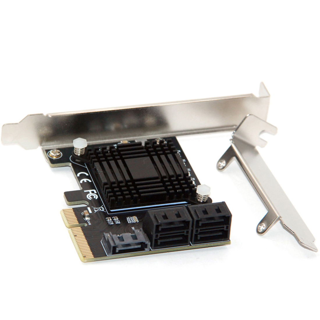 XT-XINTE PCI Express 3.0 X4 To 5 Port SATA III 6Gbps Expansion Controller Card Support Port Multiplier For HDD SSD