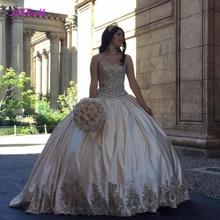 Cao cấp Ren Vàng Sweet 16 Quinceanera Váy 2020 Bầu Tinh Thể Plus Kích Thước Satin Hóa Trang Vestidos 15 Anos Vũ Hội Đồ Bầu