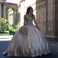 Luxury Gold Lace Sweet 16 Quinceanera Dresses 2020 Ball Gown Crystals Plus Size Satin Masquerade Vestidos 15 Anos Prom Gowns