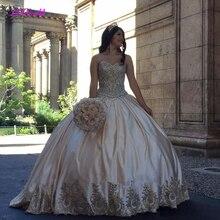 Robe de bal en Satin de grande taille, dentelle dorée, douce 16 Quinceanera, cristaux, robe de bal, 2020