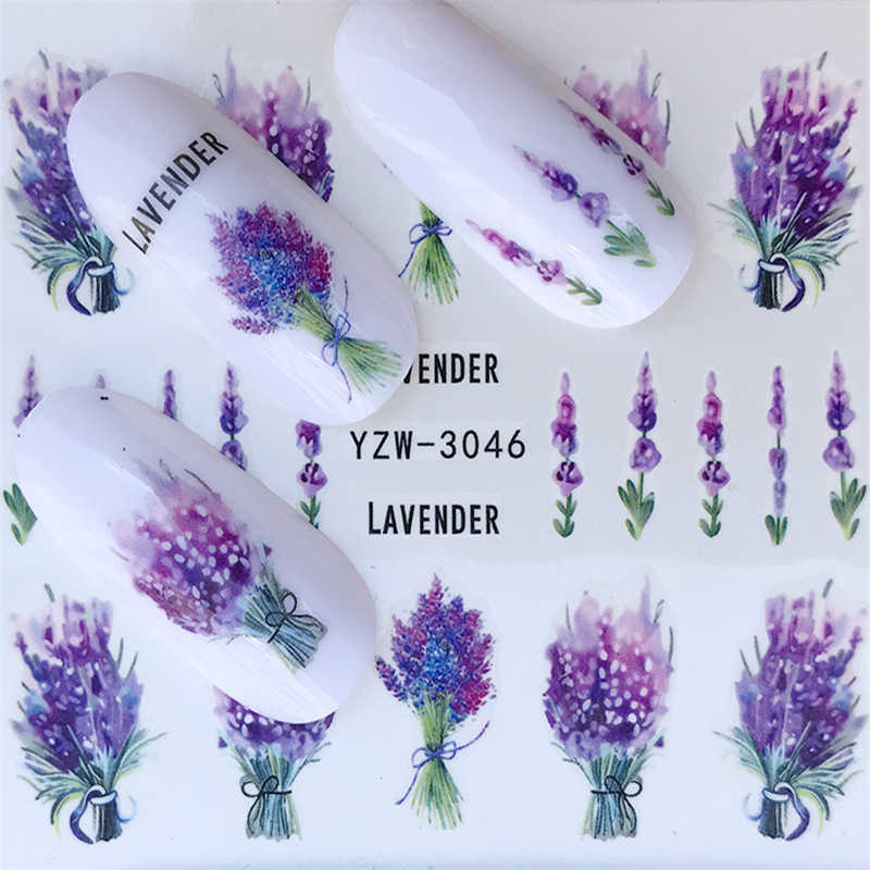 1 Pcs 2018 Hot Sale Nail Stickers on Nails Blooming Flower Stickers for Nails Lavender Nail Art Decals YZW-3046