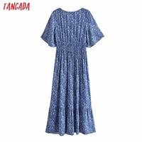 Tangada 2021 Women Print French Style Lace Patchwork Dress Flare Short Sleeve Ladies Long Dress Vestidos 3H239 6