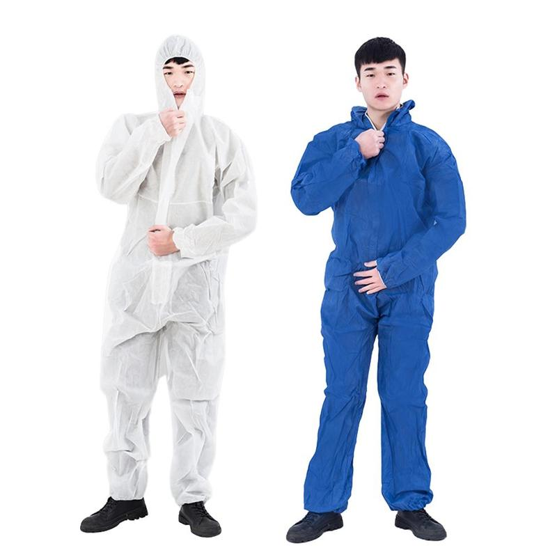 Protective Clothing Disposable Sanitary Isolation Antivirus Factory Hospital Safety Clothing Antistatic Hooded Coverall L-3xl