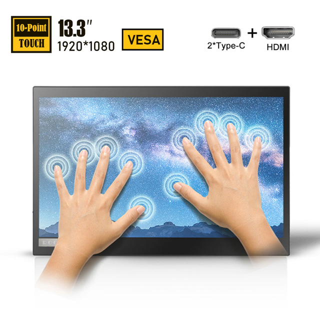 13.3 Inch FHD IPS Touch Screen Portable Monitor 13 inch Lcd Computer Display with HDMI/USB Type-C for Laptop PC Phone Switch PS4 3