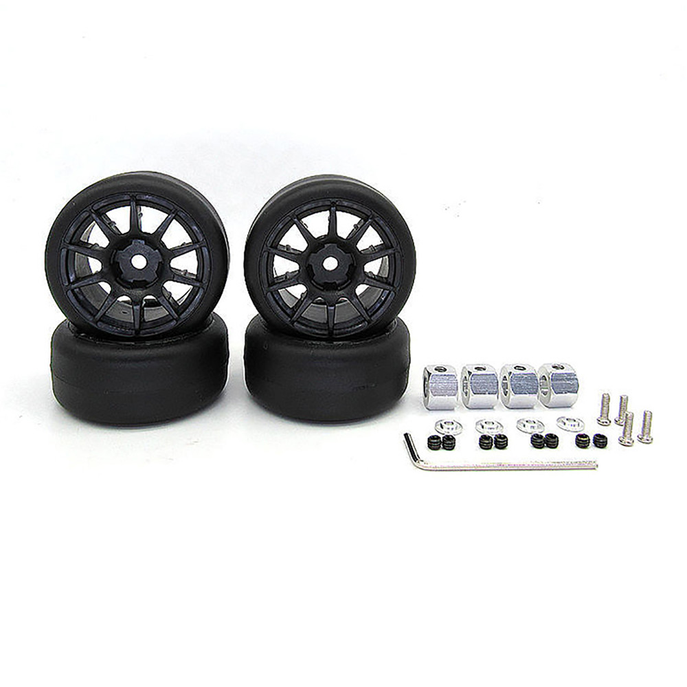 For WPL D12 RC Truck Wheel Rim Tyre Drift Tire Bald Tire M Car Tires with Adapter Model Car Modification Accessories