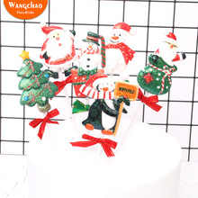 Merry Christmas Cake Decoration Xmas Theme Santa Snowman Penguin Cupcake Topper Festival Party Supplies Kids Favors