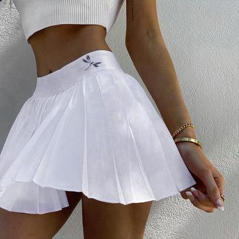 Damska plisowana krótka spódniczka z podszewką z wysokim stanem zamek jednolita krótka spódniczka damska 2020 nowa na jesień dla dziewczyny słodka koreańska spódniczka tanie i dobre opinie WOMEN POLIESTER CN (pochodzenie) Drukuj Mini Skirts Spódnice TENNIS Dobrze pasuje do rozmiaru wybierz swój normalny rozmiar