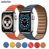 De cuero Original pulsera de enlace para Apple watch SERIE DE gomillas 6 SE 44mm 40 38mm 42mm reloj de bucle magnético pulsera iWatch 5 4 3