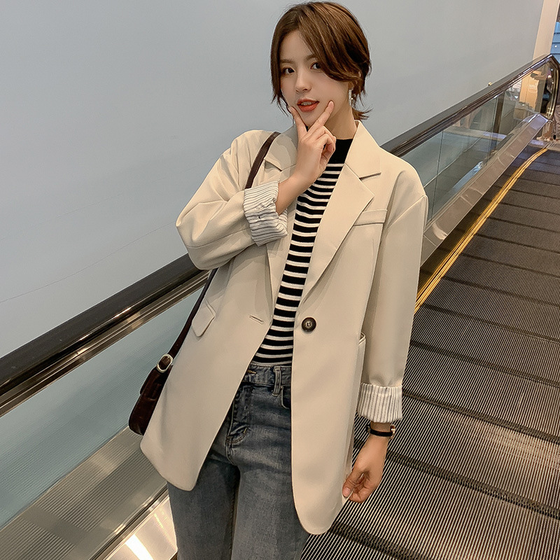 2019 Autumn New Small Suit Women's Temperament Solid Color Striped Long Sleeve Loose Large Size Jacket Female Office Top