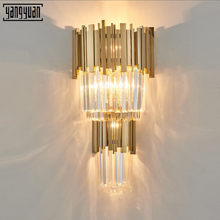 Modern Bedside LED Wall Light Sconce Lamp Luxury Golden Crystal Fixtures Living Room Bedroom