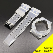 Rubber Replacement Watchband For Casio G-SHOCK GA100 GA110 GA120 Set Transparent Silicone Watch Band Strap With Watch Case(China)