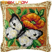Kait Bantal Putih Butterfly Poppy Sarung Bantal Cetak Kanvas Warna Acrylic Benang Umpan Hook Bantal Crochet Sarung Bantal(China)