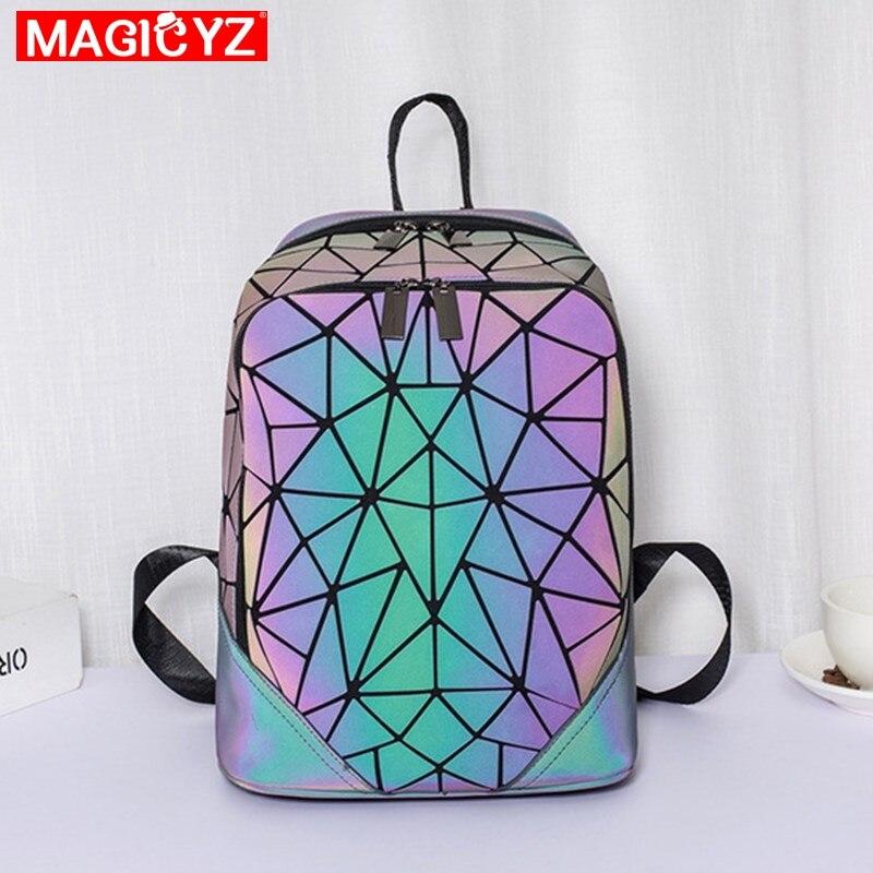 Image 4 - Women Backpack Luminous Geometric Plaid Female Backpacks For Teenage Girls Bagpack Bag Holographic Backpack School Mochila-in Backpacks from Luggage & Bags