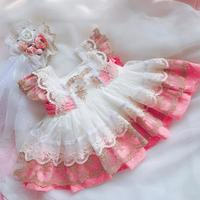 Summer New Spanish Lolita princess dress baby girl clothes lace stitching dress for girl Sleeveless vintage dress vestidos Y2731