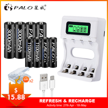 PALO Travel USB Charger Smart LCD Intelligent Rechargeable Battery Charger ForNi-Cd Ni-Mh AA/AAA Battery+4pcs AA+4pcsAAA Battery palo 4pcs 3000mah ni mh 1 2v aa rechargeable batteries aa battery battery rechargeable battery with lcd display battery charger