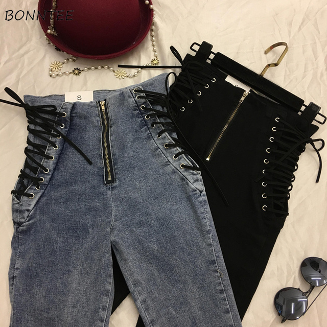 Jeans Women Lace up Skinny All match Zipper Simple Trendy Ankle Length Trousers Womens Spring Autumn Slim Female High Quality