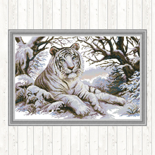 Joy Sunday Tiger Cross Stitch Patterns 14CT 11CT Aida Fabric for Embroidery Kit DMC DIY Crafts Needlework Printed on Canvas
