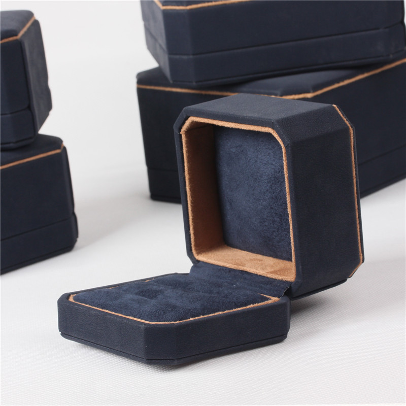 Newest Fashion Style  Blue Color Jewelry Packing Boxes Made For Fibre PU Leather