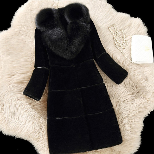 Luxury Faux Fur Coats Large Size 5XL Women Winter Fur Thick Long Jacket New Fashion Women Fake Fox Fur Collar Faux Fur Outerwear