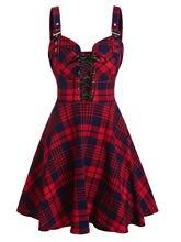 Wipalo – robe à carreaux imprimée, sans manches, avec bretelles à boucle frontale, ligne A, Mini, 3xl