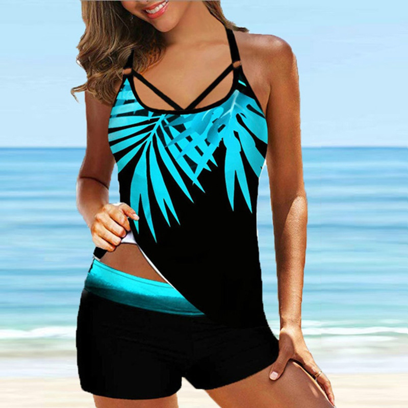 Women Leaf Printed Swimsuit Vintage Sexy Backless Tankini Set Female Summer Beach Two Pieces Swimwear Bathing Suit Plus Size 8XL 1