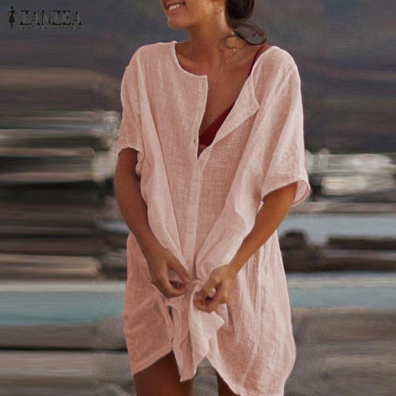 2019 ZANZEA Sexy Mini Dress Women Long Shirt Dresses Summer Sundress Casual Long Tunic Short Vestidos Beach Party Robe Femme