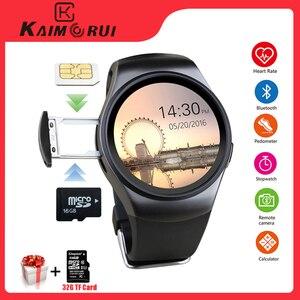 Image 1 - Kaimorui KW18 Bluetooth Smart Horloge Sim kaart Hartslag Tf Card Mannen Sport Horloge Telefoon Smartwatch Voor Xiaomi Huawei Ios telefoon