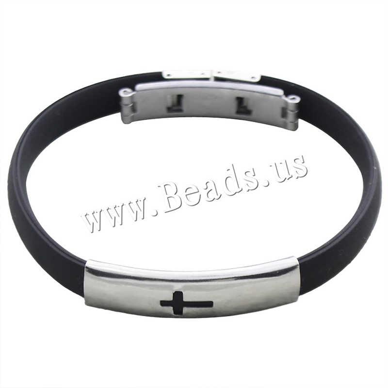 2020 ホット販売メンズ黒パンクゴムステンレス鋼リストバンドクラスプカフバングルブレスレット pulseira デ aco com borracha