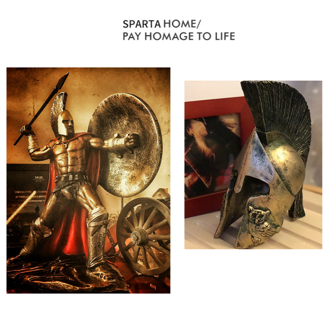 Ancient Rome Ornament Retro Spartan Character Model Resin Craft Figurines Home Decor Spartan Warrior Statue Figure Decorate Gift 6