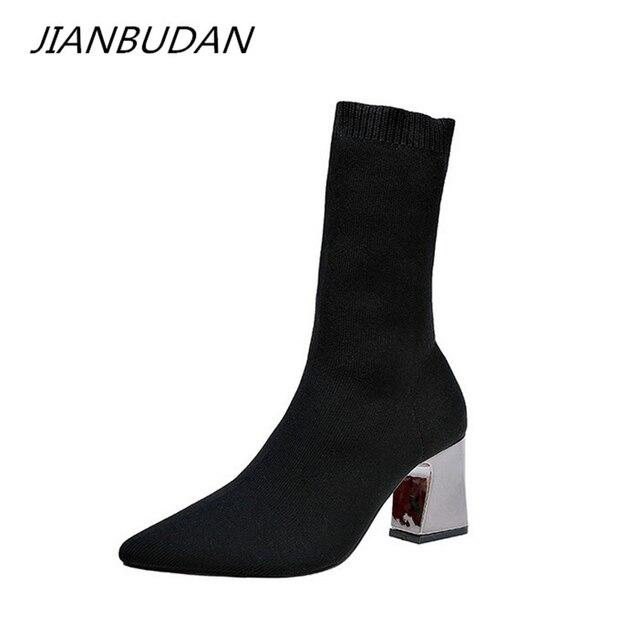 JIANBUDAN Women's sexy High Heels socks boots Autumn winter fashion Knitted Stretch boots Women Black Ankle Sock Boots 34-43