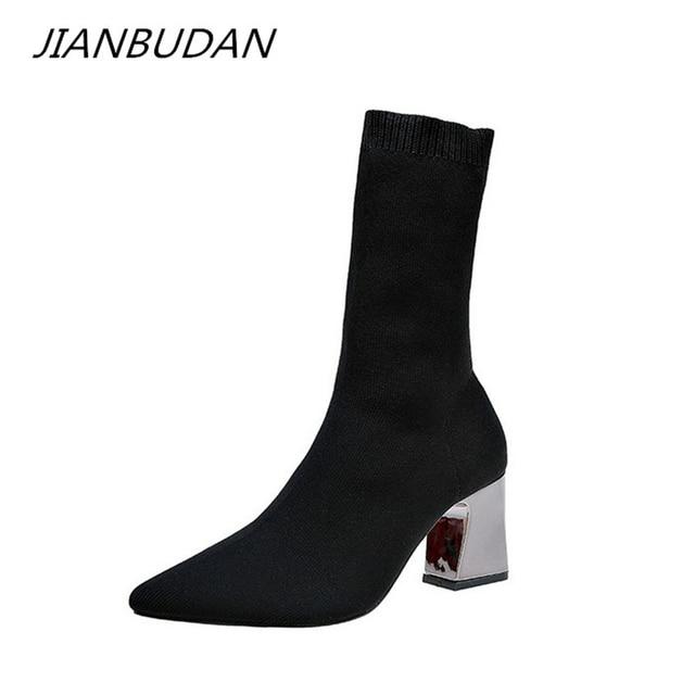 JIANBUDAN kadın seksi yüksek topuklu çorap çizmeler sonbahar kış moda örme streç çizmeler kadın siyah ayak bileği çorap çizmeler 34 43