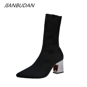 Image 1 - Jianbudan女性のセクシーなハイヒールソックス秋の冬のファッションニットストレッチブーツ女性黒足首靴下ブーツ34 43