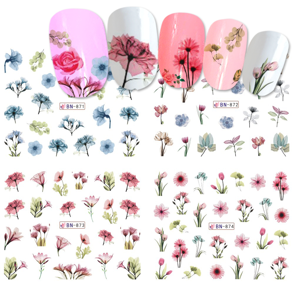1pcs Daisy Lavender Water Transfer Sticker For Nail Design Flower Leaf Slider Foil Tip Nail Art Decor Charm Manicure SABN871-876