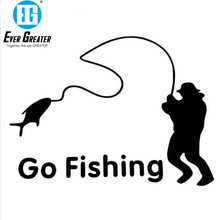 Outdoor Sports Fishing GO FISHING Stickers Car Accessories Car Stickers Decals Black Silver