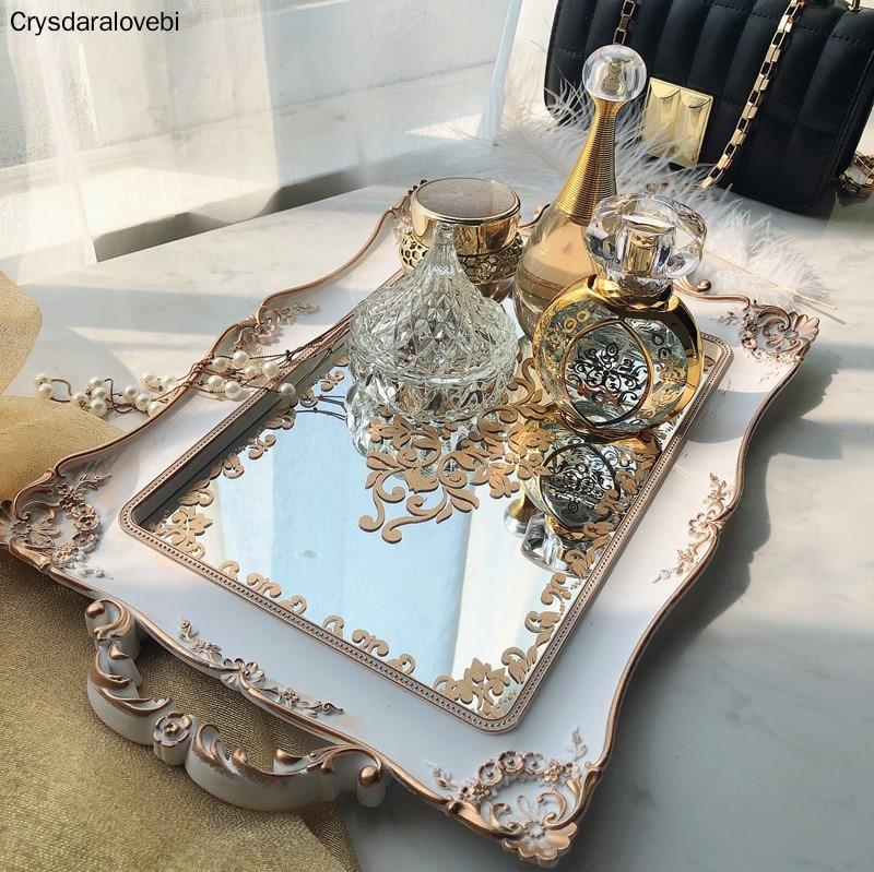 European Style White Mirror Tray Tea Dessert Storage Skin Care Product Jewelry Storage Tray Wedding Decoration Photography Props(China)