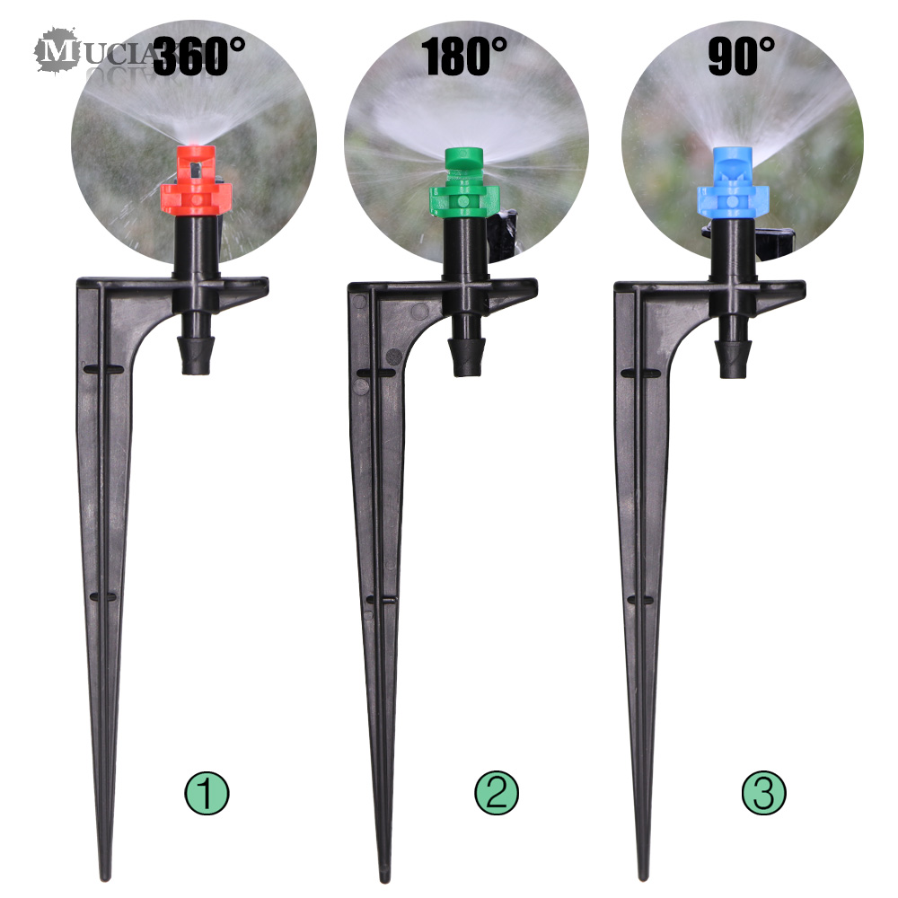 MUCIAKIE 20PCS 90/180/360 Degrees Misting Nozzles On 10.7cm Stake 1/4'' Barb Garden Irrigation Sprinklers For Agriculture Farm