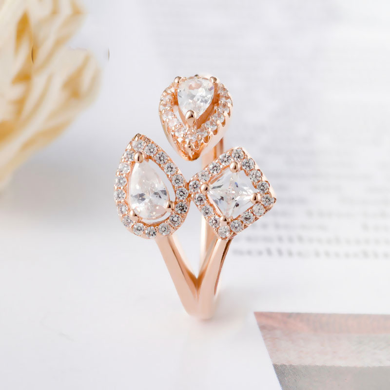 Real 925 Sterling Silver Ring Rose Geometric Shapes Open Ring With Crystal For Women Wedding Party Gift Fashion Jewelry